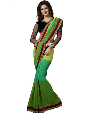 Designer Multicolor Color Faux Georgette Pading Fabric Embroidered Saree