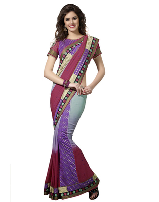Designer Multicolor Color Bember, Viscose Fabric Embroidered Saree