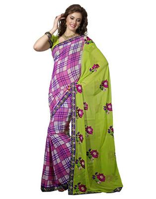 Designer Multicolor Color Faux Georgette Fabric Embroidered Saree