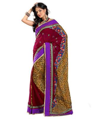 Designer Maroon Color Viscose, Chiffon Fabric Embroidered Saree
