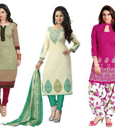 Buy Olive green and cream and pink poly cotton printed unstitched salwar with dupatta salwar-combo online