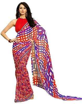 Designer Red Color Chiffon, Faux Georgette Fabric Printed Saree