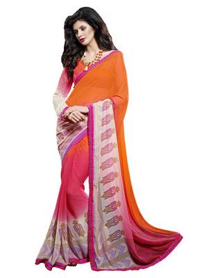 Designer Orange Color Faux Georgette, Chiffon Fabric Printed Saree