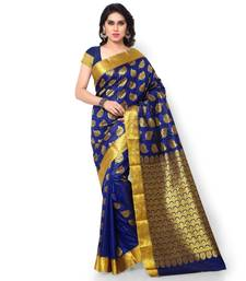Buy Navy printed faux_silk saree With Blouse silk-saree online