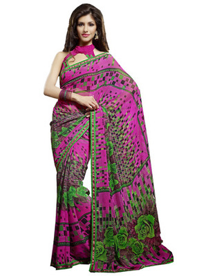 Designer Pink Color Chiffon Fabric Printed Saree
