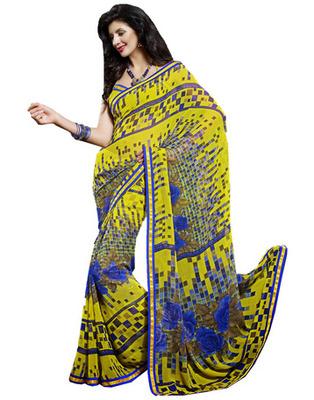 Designer Yellow Color Chiffon Fabric Printed Saree