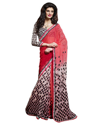 Designer Red Color Faux Georgette Fabric Printed Saree