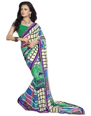 Designer Multicolor Color Faux Georgette Fabric Printed Saree