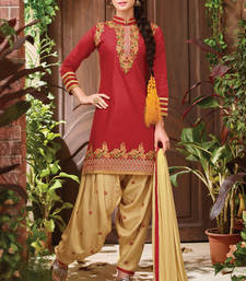Buy Maroon cotton embroidered unstitched salwar with dupatta patiala-salwar online