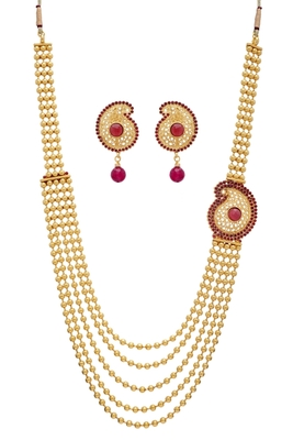 Buy Antique Golden Red Pearls Side Locket Necklace Set Online