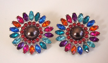 Multicolor Pearl and Crystal Earrings