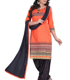 Buy Coral cotton embroidered unstitched salwar with dupatta patiala-salwar online