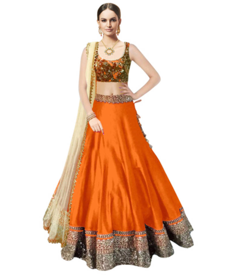 Buy Orange Banglori Silk Party Wear Ghagra Choli Online