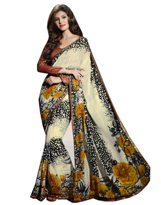 Designer Multicolor Color Faux Georgette Fabric Printed Saree