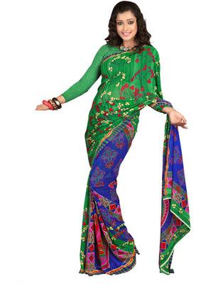 Designer Green & Blue Color Cotton Fabric Printed Saree