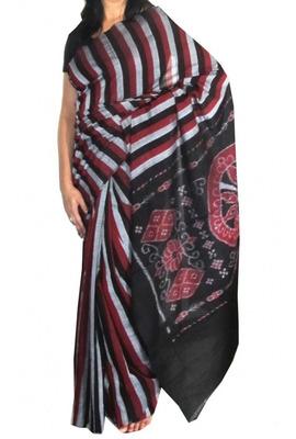 Fine cotton maroon, grey and black handwoven Ikat saree