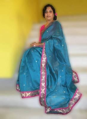 Teal Chanderi saree with pure Banarasi brocade border