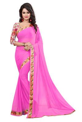 pink plain nazneen saree With Blouse