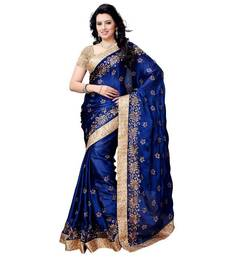 Buy navy blue embroidered chiffon saree With Blouse chiffon-saree online