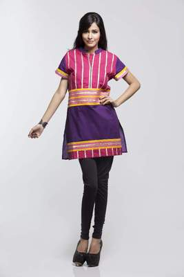 Avishi Purple Short Kurta With  Dupion Laces