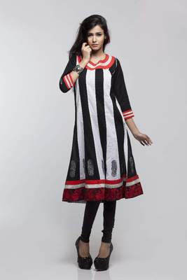 Avishi Black & White Embroidered  Anarkali