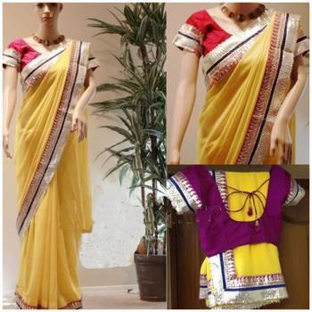 Yellow georgette with pink gotta-patti saree