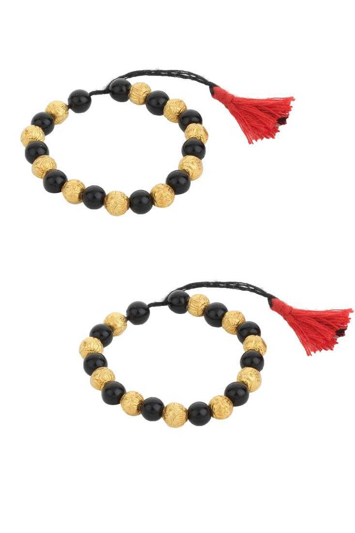 Black Beads Gold Unisex Nazariye Bangles For Babies