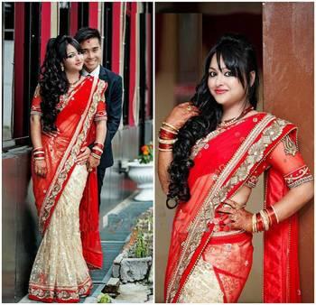 Bridal wear half-half saree