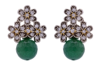 ANTIQUE VICTORIAN STONES STUDDED TOPS WITH GREEN PEARLS DROP