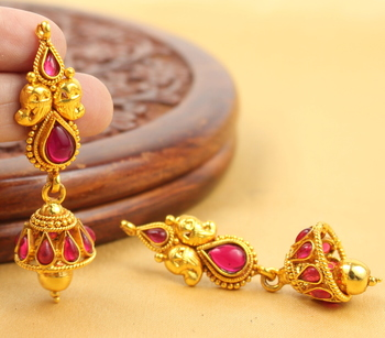 Beautiful Antique Cute Kemp Jhumkas