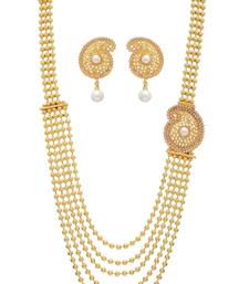 Buy ANTIQUE GOLDEN WHITE PEARLS SIDE LOCKET NECKLACE SET Necklace online
