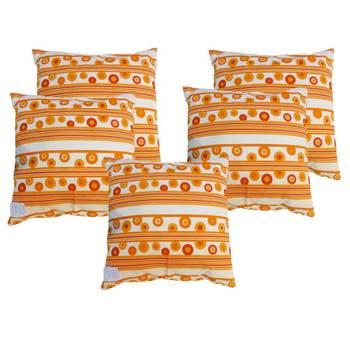 Hand Block Floral Fire Brick Color Cushion Cover 5 pcs set