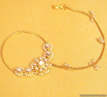 Kundan & Pearl Bridal Nose Ring