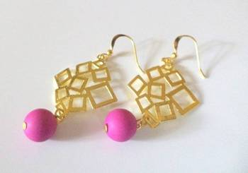 Bright Dark Pink Golden Rhombus Earrings