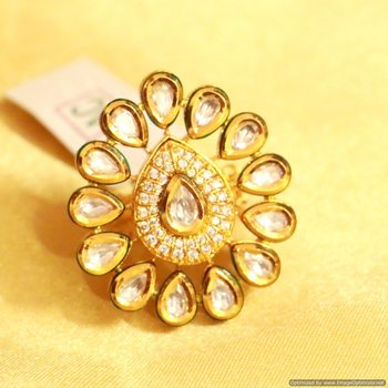 Kundan Meenakari Adjustable Ring