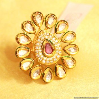 Ruby Kundan Meenakari Adjustable Ring