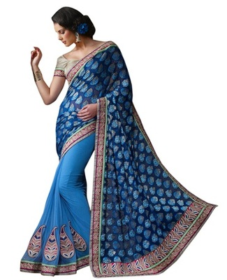 Triveni Glamorous Blue Indian Traditional Wedding Wear Exquisite Saree TSVR2012