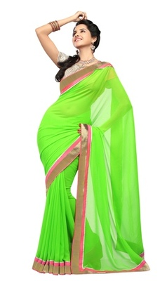 Triveni Striking Contrast Border Faux Georgette Sari TSXRI1707B