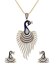 M Creation Beautiful CZ Studded Gold Plated Pendant Set for Women
