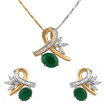 Gold Plated Peacock Pendant Set For Women