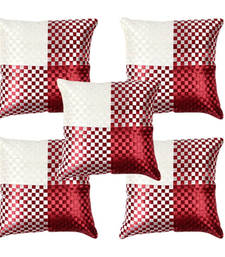 Buy Maroon Polysilk Cushion Covers- Set of 5 pillow-cover online