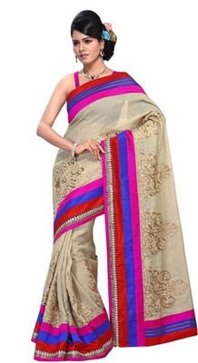 Triveni Striking Floral Embroidered Broad Border Sari TSRH1005