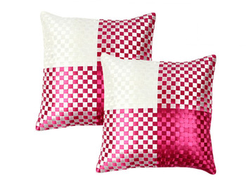 Pink Polysilk Cushion Cover-Set of 2
