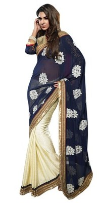 Triveni Glorious Cream Colored Floral Embroidery Sari TSXSG5105