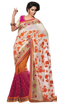 Triveni Lovely Rose Inspired Embroidered Viscose Sari TSXSG5120