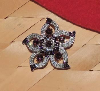 Dark Brown Silver Star Brooch