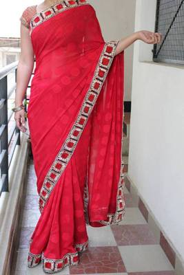 Lady in Red saree