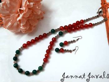 Elegant Orange and Green onyx necklace with earrings
