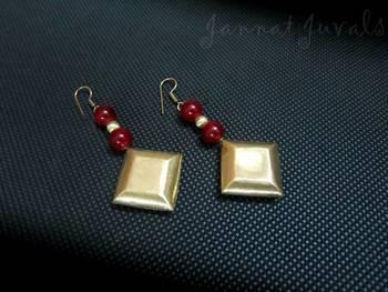 Elegant Maroon and Golden Earrings