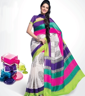 Bhagalpuri Khadi Silk Printed Saree In Double Color With Matching Running Blouse.